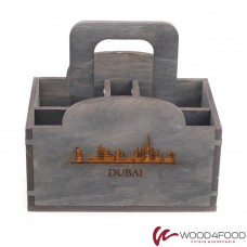 купить Napkin holder 165 * 110 * 165 mm with compartments for specialists and toothpicks, plywood, stain 135-varnish