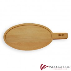 купить Wooden oval board with handle 270 * 150 * 20mm