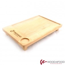 купить Wooden serving board with recess for gravy boat, 250 * 360 * 20 mm, alder, oil / wax