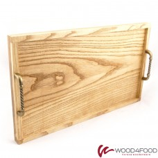 купить Wooden tray 490 * 295 * 28 mm with side and handles made of brass, ash, oil-wax