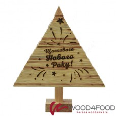 "купить Christmas tree wooden ""Happy New Rock!"", Height 57 cm, pine, oil-wax"